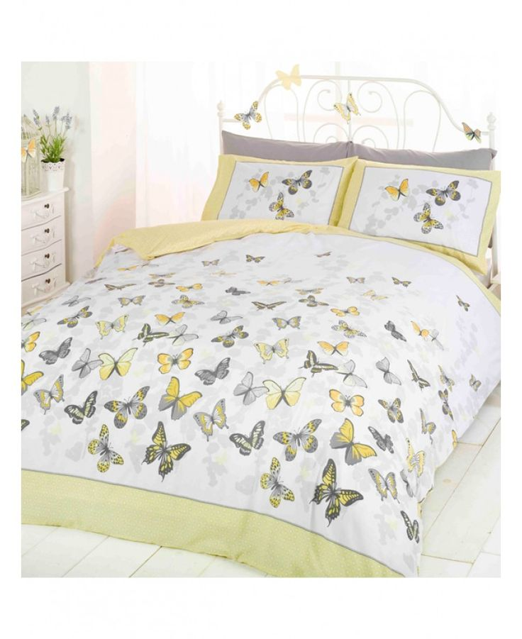 This pretty Butterfly single duvet cover set features a collection of pretty butterflies in different tones of yellow and grey on a white and grey background. The duvet cover and pillowcase also have a yellow and white spotty border which is carried through on to the reverse of the bedding set.