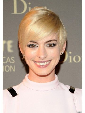 Anne Hathaway Blonde Capless Short Straight Synthetic Wigs