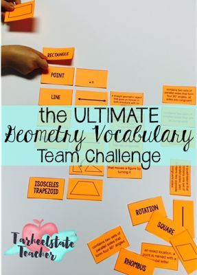 Mastering Geometry Vocabulary: The Ultimate Geometry Vocabulary team challenge (game) Geometry Vocabulary cards study strategy and games provide students with multiple exposures to geometry terms-includes ideas for creative and fun ways to play with these
