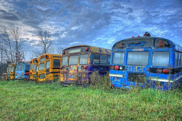 School Bus Graveyard  No more pencils, no more books, no more teachers' dirty looks.     Exif: 3 exposure HDR (-1, 0, +1) processed in photomatix and edited in Photoshop.