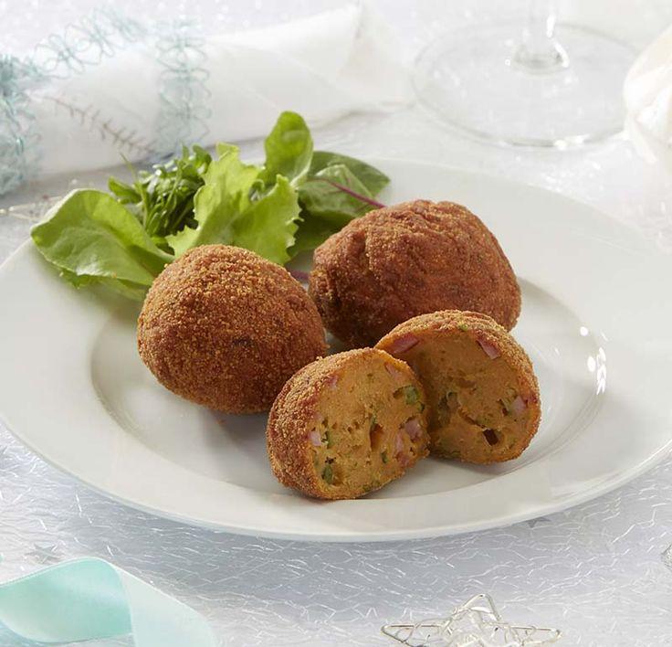 Croquettes de patates douces au jambon et aux petits pois