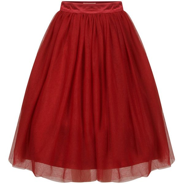 Eddie Burgundy (€31) ❤ liked on Polyvore featuring skirts, bottoms, faldas, red, ballet tutu skirt, red tutu, red midi skirt, calf length skirts and red skirt