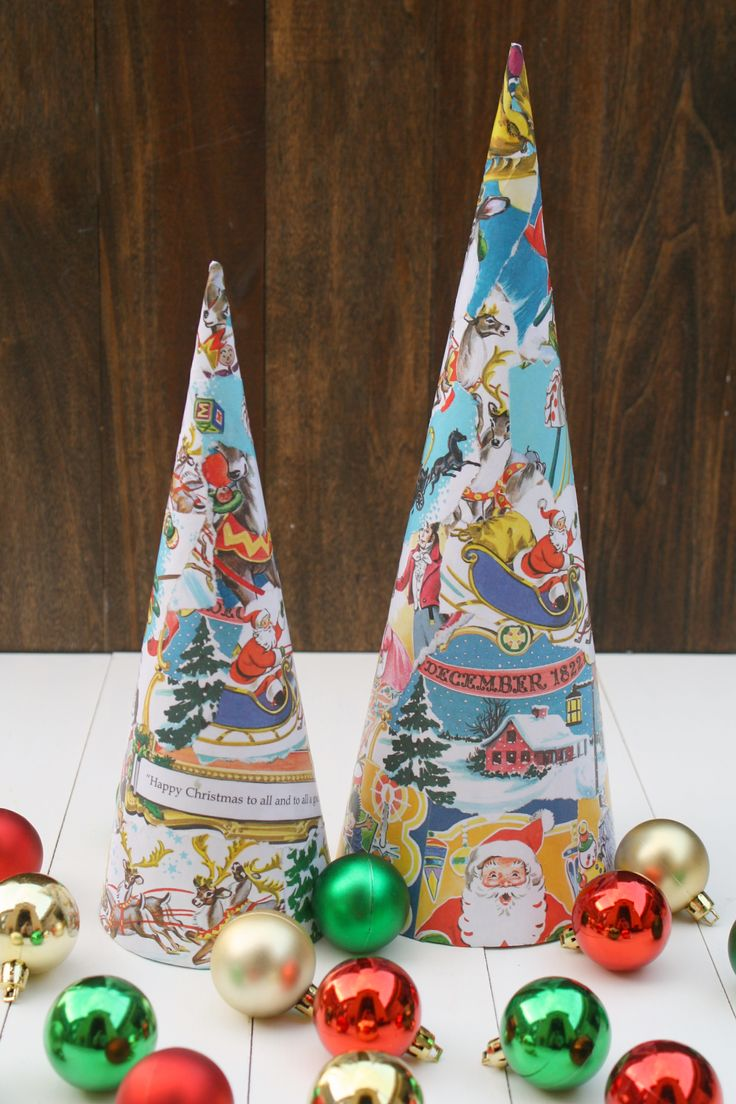 Easy homemade paper christmas decorations - Diy Vintage Book Paper Christmas Trees So Easy To Make