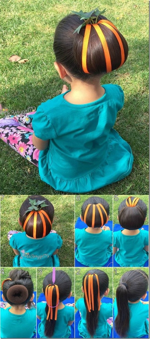 Pumpkin bun hairstyle - so adorable and perfect for Halloween and Thanksgiving!
