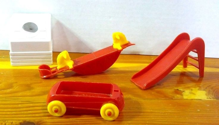 Vintage Doll House Furniture ACME Lot of 4 Teeter-Totter Red Wagon Slide Washer | eBay