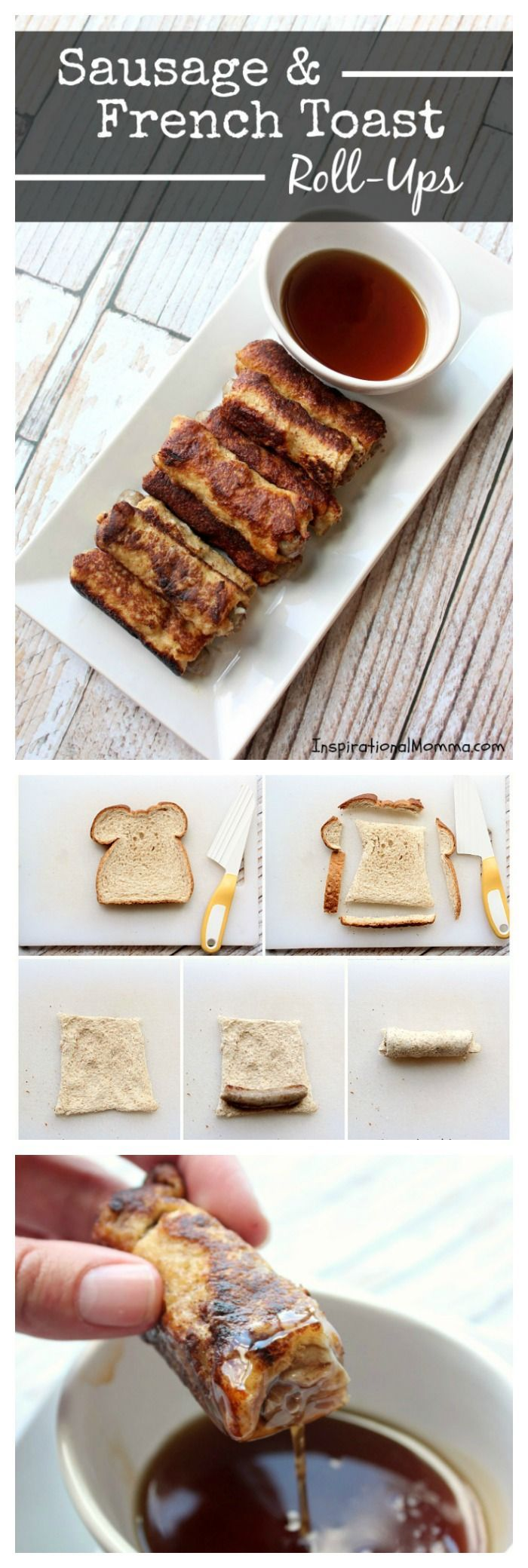 Quick, easy, and delicious, Sausage & French Toast Roll-Ups are crispy on the outside and bursting with flavor on the inside! A guaranteed crowd-pleaser!