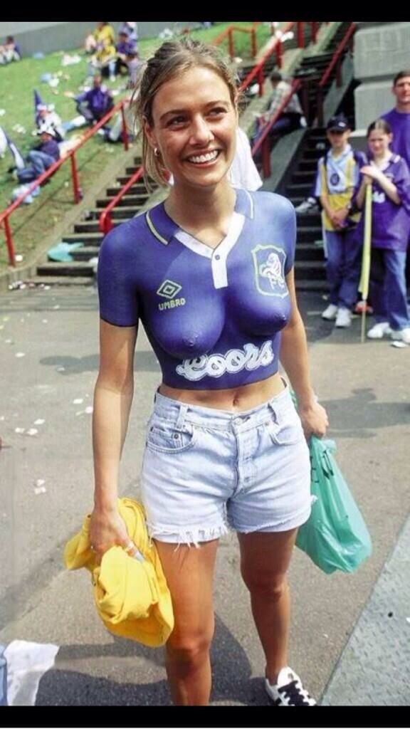 sexy girls in football shirts