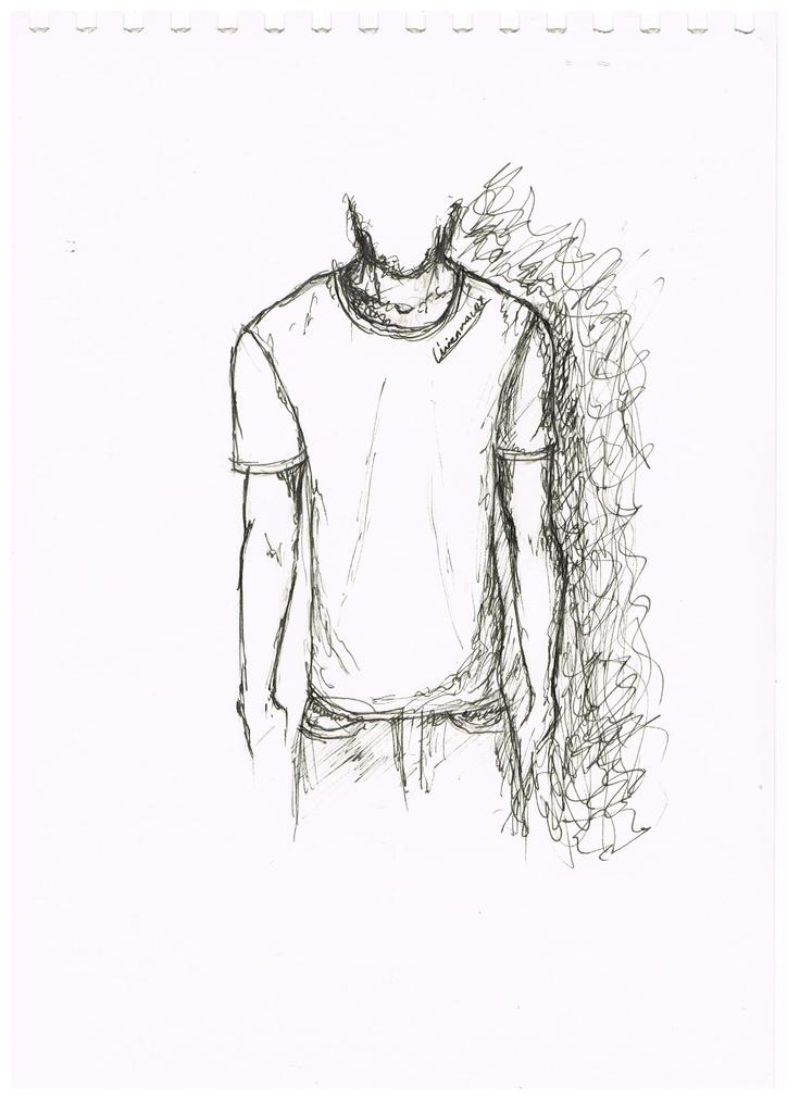 Linienrausch T-Shirt-Skizze - Frontansicht