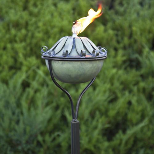 Long Leaf Zinc Garden Torch with Traditional Yard Stake - Verde Weathered Zinc