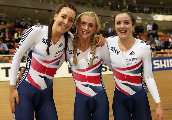 Laura Trott Photos - Dani King, Laura Trott and Elinor Barker of Great Britain celebrate winning the Women's Team Pursuit during day two of the…