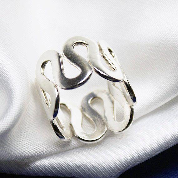 Silver Ring Wave Shape by LaremelStudio on Etsy, $39.00