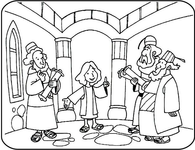 Jesus In The Temple Coloring Pages Faith Children S Jesus At The Temple As A Boy Coloring Page Free