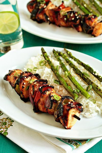 Asian Chicken Kebabs.  Chicken and fresh vegetables combine with a flavorful Asian inspired marinade to create delicious kebabs that are perfect for summer grilling.