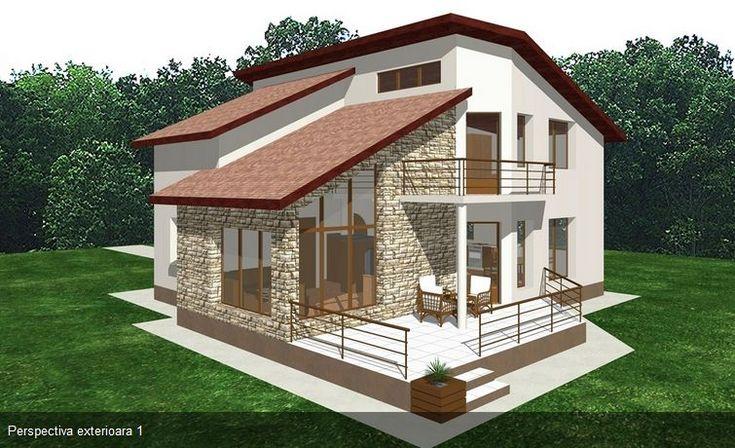 Proiecte de case moderne cu balcoane in relief frumoase