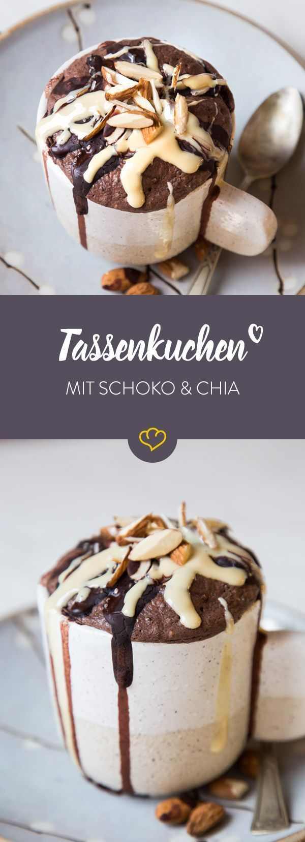 Chia-Schoko-Tassenkuchen mit Mandelmus – #ChiaSchokoTassenkuchen #Mandelmus #mit