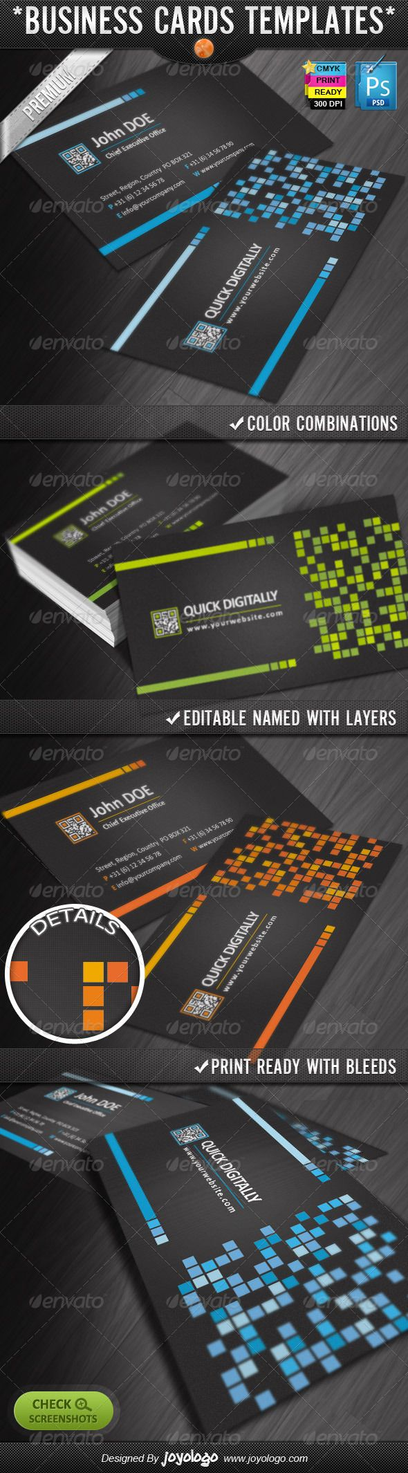 Digitally Quick Response Business Cards Designs - #Creative #Business #Cards Download here: https://graphicriver.net/item/digitally-quick-response-business-cards-designs/2301371?ref=alena994