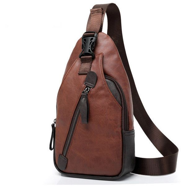 Men Retro PU Leather Crossbody Bag Capacity Leisure Shoulder Chest Bag ($15) ❤ liked on Polyvore featuring men's fashion, men's bags, brown, mens crossbody bag, mens cross body bag and mens bags