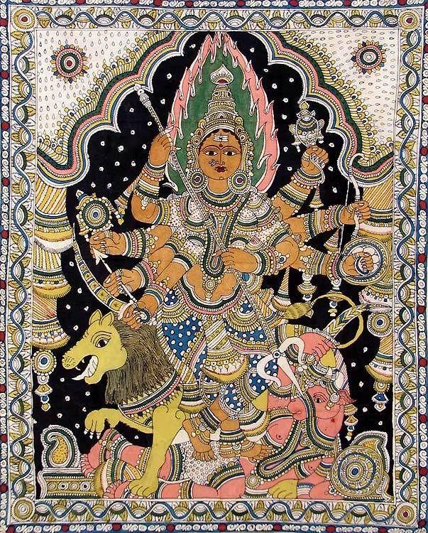 Goddess Durga - Kalamkari Painting