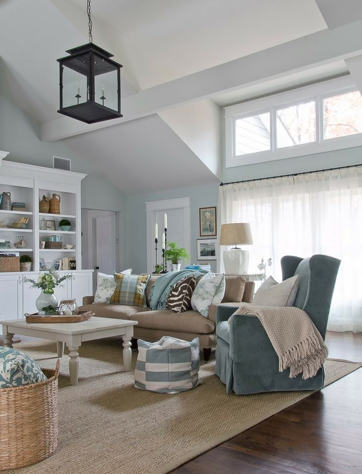 My Living Room Inspiration! Coastal Living With A Modern Feel, Love The  Jute Rug, Baskets, Black Pendant Lantern, Blue Slip Covered Wing Chair And  White ...