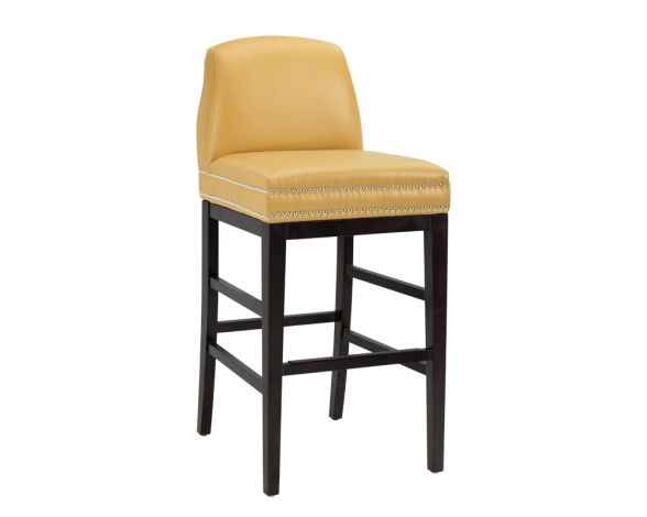 ALBERT BARSTOOL | Add style and comfort to contract and residential spaces with this transitional stool in mustard and dove grey bonded leather. Features a double row of silver nailhead and an espresso wood frame with stretchers and a black metal footrest plate.