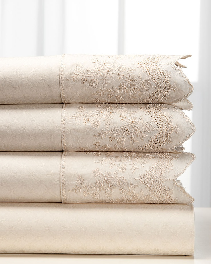 Embroidered bed linens, antique, vintage or new. Court of Versailles | Hannah & Fay
