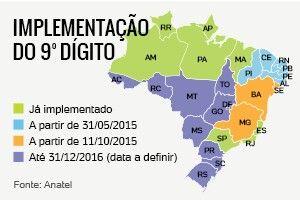 Implentação do 9º dígito    Os números de celulares de Pernambuco (áreas 81 e 87), Alagoas (área 82), Paraíb a (área 83), Rio Grande do Norte (área 84), Ceará (áreas 85 e 88) e Piauí (áreas 86 e 89) terão um nono dígito adicionado a partir deste domingo (31).  Com a mudança, o dígito 9 será acrescentado à esquerda dos atuais números de celular, que passarão a ter o seguinte formato: 9 xxxx-xxxx.   Independentemente do local de origem da chamada, no momento da discagem, o nono dígito deverá…