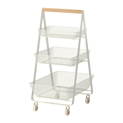 IKEA - RISATORP, Trolley, You can easily move the trolley wherever you like, as the castors move freely in any direction.</t><t>Perfect as extra storage in your kitchen, hall, bedroom or home office.</t><t>The trolley's triangular shape and baskets make what you store in them easy to both see and access.