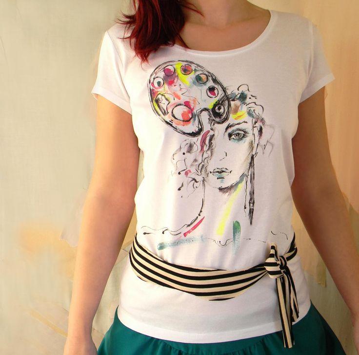 Cotton Knit tričko s ručně malované módní ilustrace a Fancy pruhovaná šála nebo Belt-L Velikost