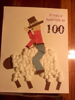 """Cowboy riding a sheep """"It was a hard ride to 100"""""""