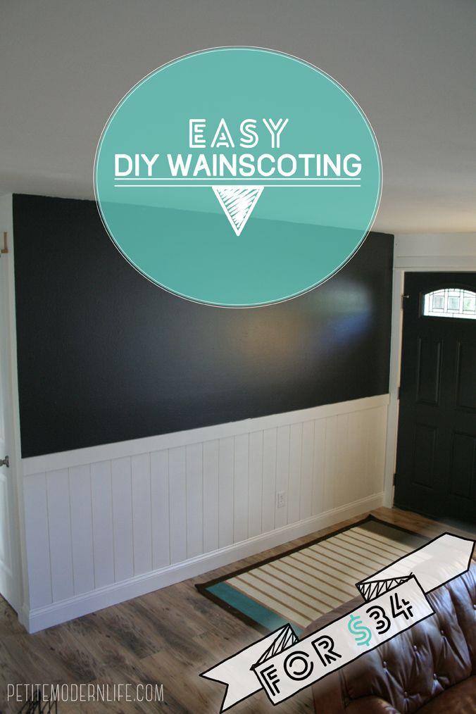 DIY Easy + Inexpensive Wainscoting on Petite Modern Life!