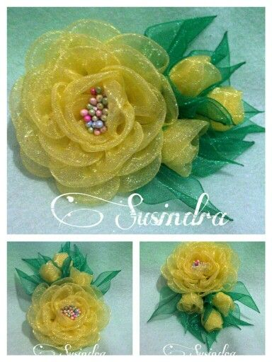 Ribbon flower by Sweetzee & Susindra Craft. Find me at susindra.com
