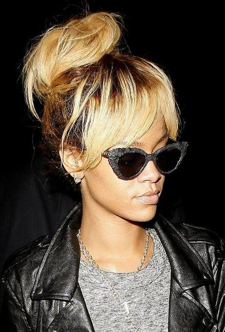 messy bangs updo   Rihanna High Bun Updo : Stylish Messy Bun Updos with Bangs ...