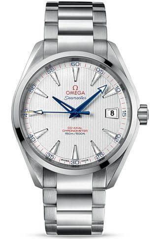 "Aqua Terra 150m Omega Co-axial 41.5mm 231.10.42.21.02.002.This classic yet robust timepiece represents a tribute to OMEGA's rich maritime heritage, as well as its role as Official Timekeeper of the 2012 Ryder Cup. This OMEGA Seamaster Aqua Terra 150M Captain's Watch"" features an silver dial decorated with the Teak Concept pattern and a date window at the 3 o'clock position. A scratch-resistant sapphire crystal protects this unique dial. The bezel is mounted on a 41.5 mm stainless steel case…"