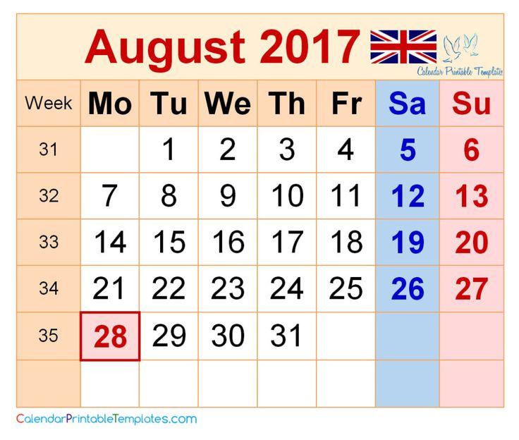 printable calendar august 2017 pdf