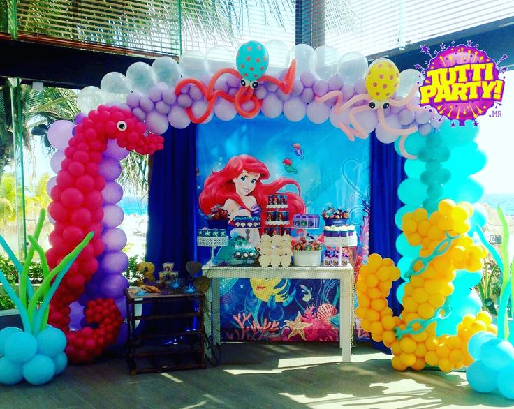 The little mermaid Party decorations, decoración con globos la sirenita, Disney Party decorations, under The sea archivo balloons