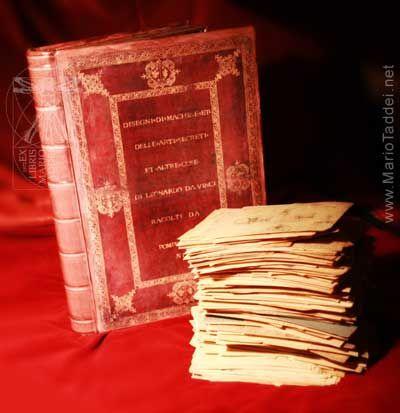 An Unique edition of the Da Vinci's Codex Atlanticus. Self made replica of the Pompeo Leoni box and unbound collection of all papers.  Replica in copia unica del Codice Atlantico di Leonardo da Vinci nella versione realizzata da Pompeo Leoni.  www.Leonardo3.net www.Mariotaddei.net