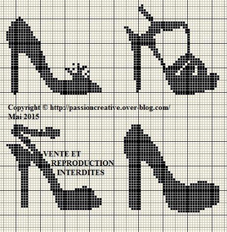 0 point de croix monochrome collection chaussures - cross stitch black shoes