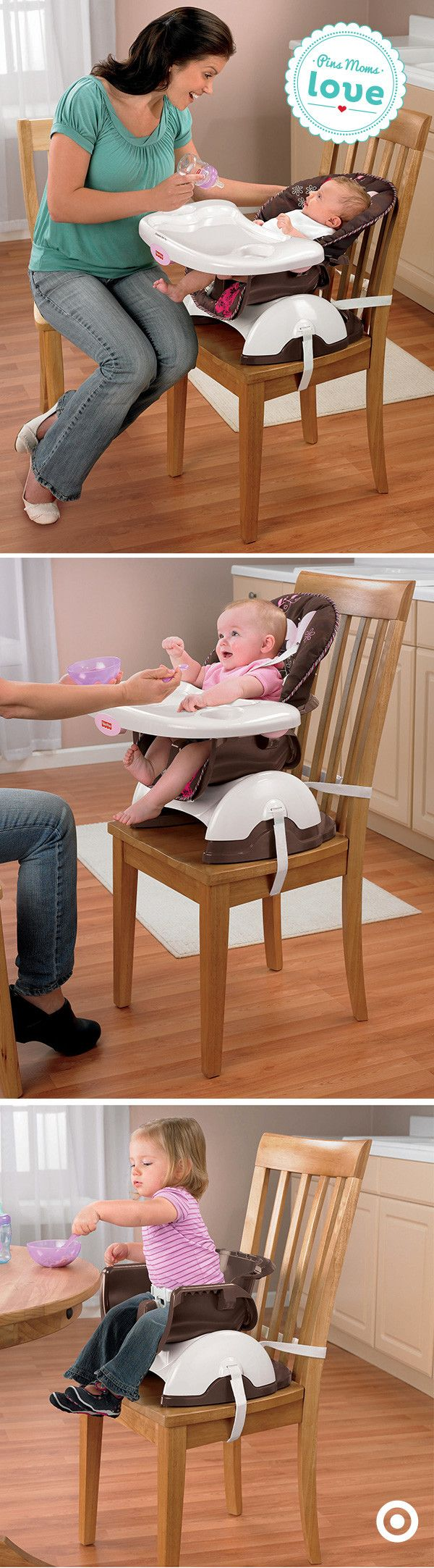 The Fisher-Price Space-Saver Highchair grows with your baby from infant to toddler. Plus, it only takes up half the space of a full-sized highchair.
