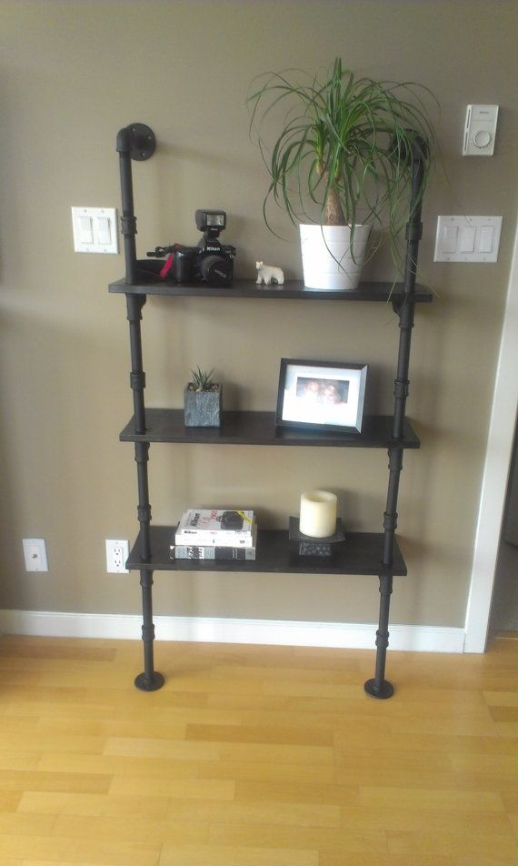 Industrial Pipe Shelves | Industrial Pipe Bookcase with wood shelves | Sewing