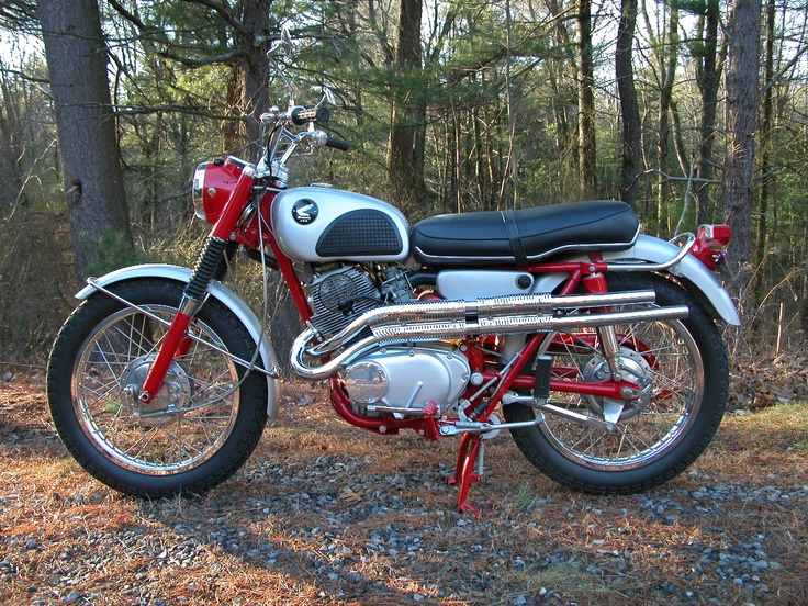'60s Honda 305 Scrambler. This wasn't mine, but I had one like it. Painted the Tank yellow. Rode it in the Desert; Holiday Valley up by Gorman. Sold it for more than I paid for it. One of the few bikes that I did make a profit on.