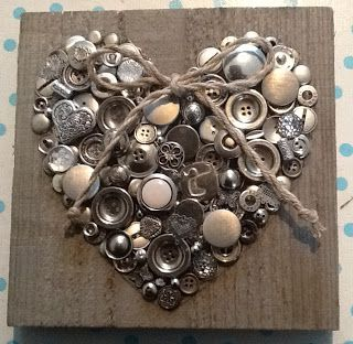 DIY Heart idea using pallet wood, buttons and twine                                                                                                                                                                                 More