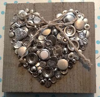 Hart van knopen, zilver - antique silver button heart