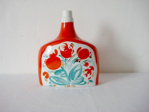 Antique Decanter Red Bouquet Jar Soviet от OldMoscowGallery