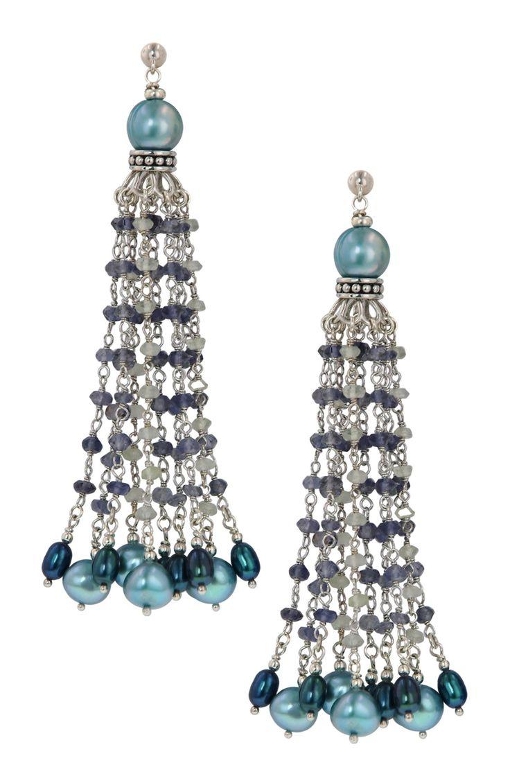 4-8.5mm Multicolor Multi-Shaped Freshwater Pearl, Labradorite & Iolite Chandelier Earrings by Honora Pearls on @HauteLook