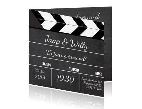 Leuke 25 jaar getrouwd uitnodiging met film klapper