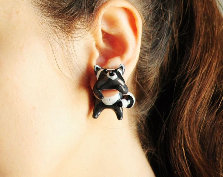 Rac Ear Jackets Fake Gauges Earrings Cute Animal Fun Gray Gift For Her Made To Order
