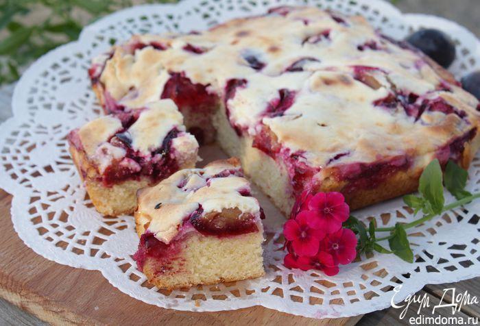 Сливочный пирог со сливовой начинкой   Очень вкусный пирог получается, обязательно попробуйте! #едимдома #готовимдома #рецепты #кулинария #выпечка #пирог #вкусно