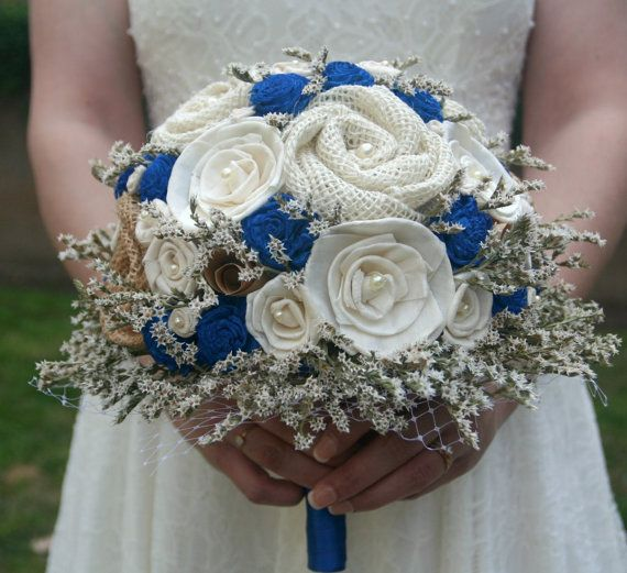 Rustic Royal Blue Bride's Alternative Wedding Bouquet by TheSunnyBee