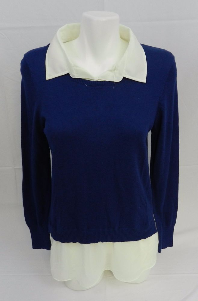 DKNY Womens Layered Look Built in Faux Shirt Sweater Prussian Blue NWT L #DKNY #Crewneck
