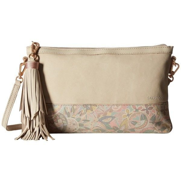 Sakroots Artist Circle Seni Clutch (Latte Waterfall) ($78) ❤ liked on Polyvore featuring bags, handbags, clutches, sakroots, circle purse, brown purse, zipper handbags and circle handbags